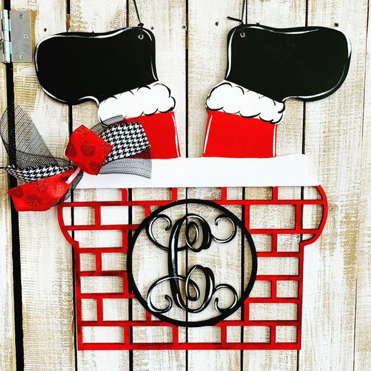 Santa Chimney Monogram, Door Hanger Christmas Decoration