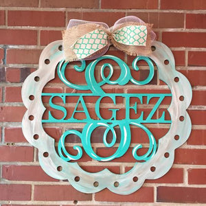 "24"" Scalloped  Monogram with Holes, Family Name with Monogram Initial Painted ( Ribbon not included only bow)"