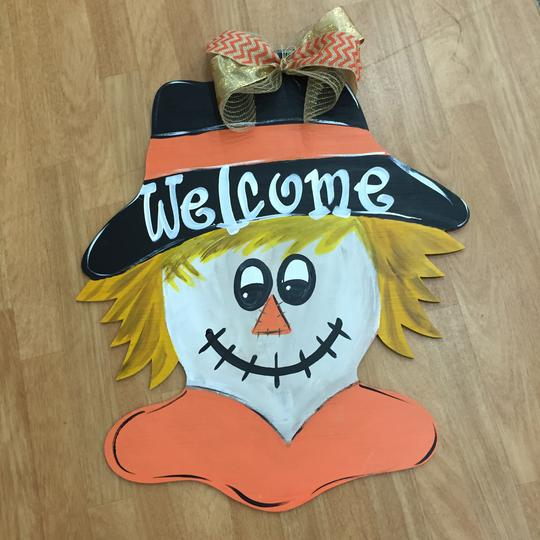 Scarecrow Head  Door Hanger, Halloween DecorThanksgiving Customizable Door Hanger