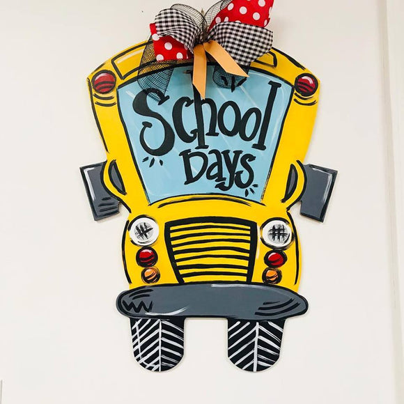 School Teacher Door Hanger, School Bus Painted Teacher GIft, Customizable