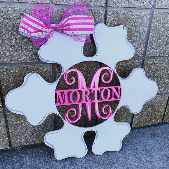 Snowflake Monogram, Family Name with Monogram Initial Painted, Customizable