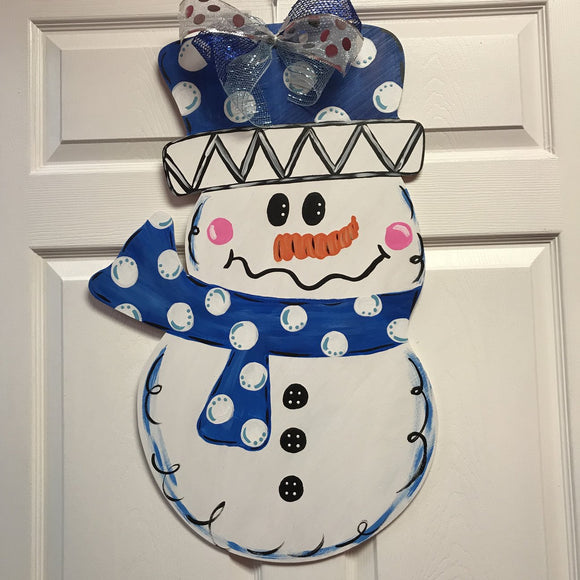 Snowman Painted, Holiday Door Hanger, Merry Christmas