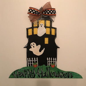 Spooky Lighthouse Door Hanger, Halloween DecorThanksgiving Customizable Door Hanger