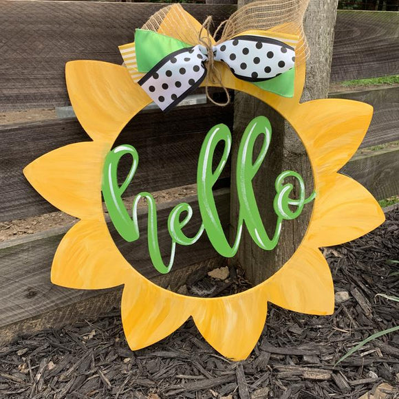 Hello Sunflower Painted Wooden Door Hanger, Thanksgiving Customizable Door Hanger