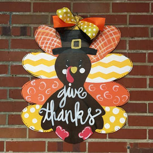 Fall Turkey Door Hanger, Painted Wooden Door Hanger, Thanksgiving Customizable Door Hanger