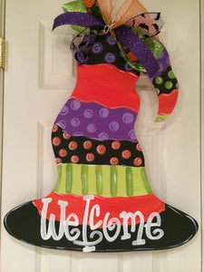 Witches Hat Door Hanger, Painted Wooden Door Hanger, Halloween Decor Customizable Door Hanger