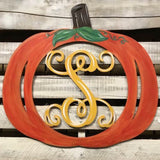 Pumpkin Monogram Painted, Thanksgiving Customizable Door Hanger Fall Home Decor