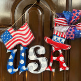 USA with flag an  d Uncle sam's Hat, Fourth of July, Memorial Day  Decor, Craft Shapes, Wooden Cutouts