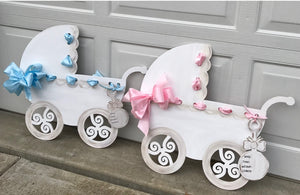 Baby Carriage Birth Announcement , Painted Baby Room Decor