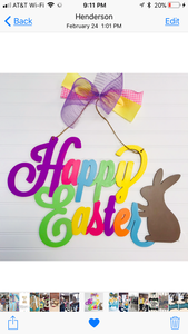 Happy Easter word sign with bunny