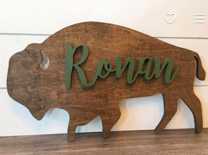 Bison  Nursery Sign, Painted Baby Room Decor, Buffalo room decor