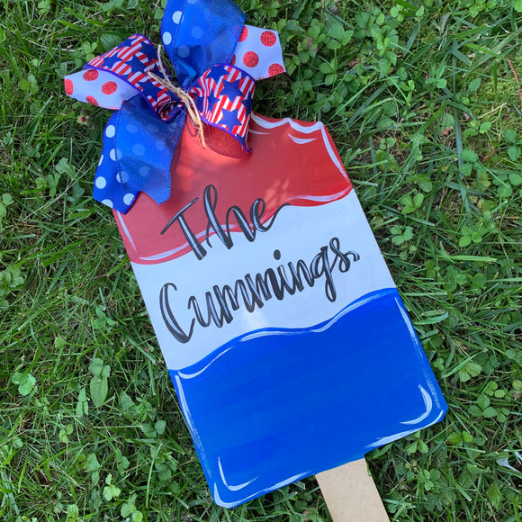 Popsicle  Door Hanger,  personalized, July 4, Summer Decor, Craft Shapes, Wooden Cutouts