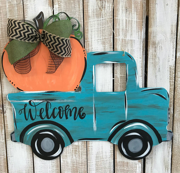 Truck with Pumpkin personalized ,Fall Customizable Door Hanger,  Fall Home Decor