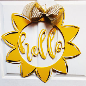 Hello sunflower, Painted with burlap bow