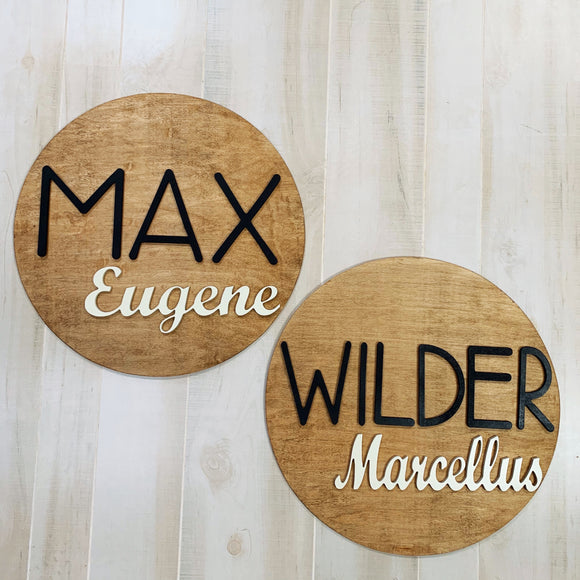 "20"" Simple Name Nursery Round, Painted Baby Room Decor"