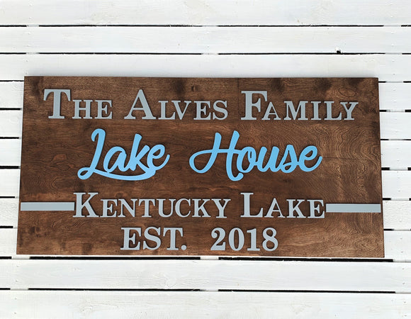 Lake House Sign , Choose your colors,  Customizable,  Home Decor
