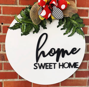 Home Sweet Home . Circle  background  Customizable Door Hanger Custom Home Decor