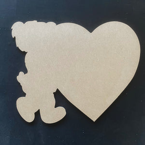Bear holding a heart, Valentine Decor Wood Door Hanger