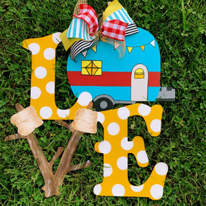 LOVE Camper and Marshmallow Craft Shape Wooden Door Hanger  Craft Shape