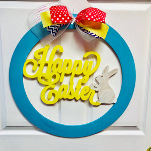 Round circle with words Happy Easter and bunny wooden door hanger