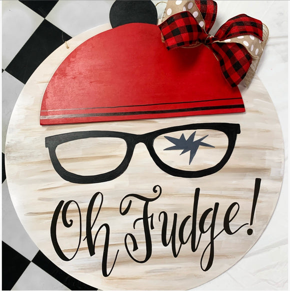 Copy of Oh Fudge with Christmas Cap on Circle Backing,  Door Hanger Christmas Decoration