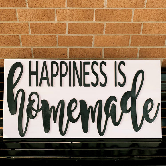 Happiness is Homemade Wood sign , Choose your colors,  Customizable,  Home Decor