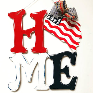 Home with flag , Fourth of July, Memorial Day  Decor, Craft Shapes, Wooden Cutouts