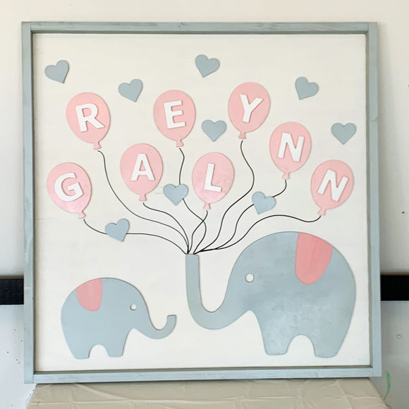 "Elephant 24""x24"" Nursery Wood Sign Framed, Nursery Name Sign"