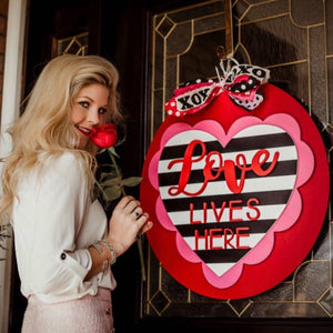 Love Lives Here Stacked Heart, Valentine Decor Wood Door Hanger