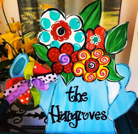 Watering Can with Flowers,  Summer Decor, Craft Shapes, Wooden Cutouts