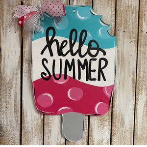 Popsicle  Door Hanger,  Summer Decor, Craft Shapes, Wooden Cutouts