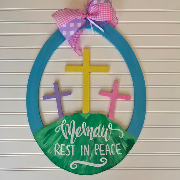 Easter Egg with three crosses on a hill wooden door hanger