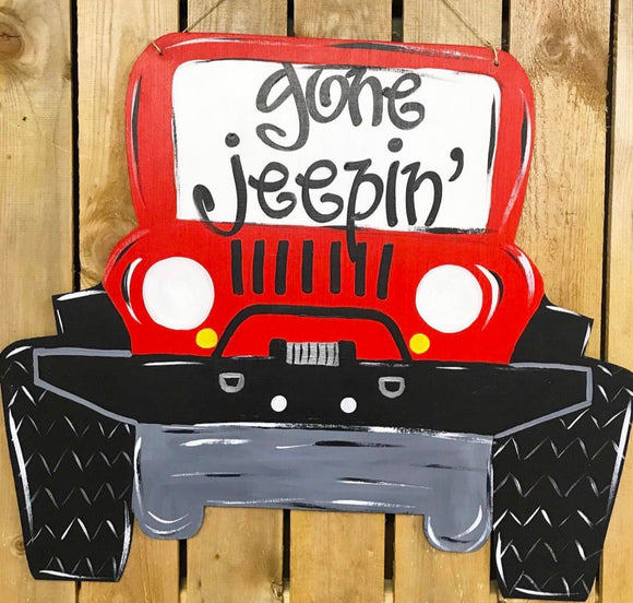 Copy ofJeep Wood Door Hanger Painted or Unfinished Craft Shape