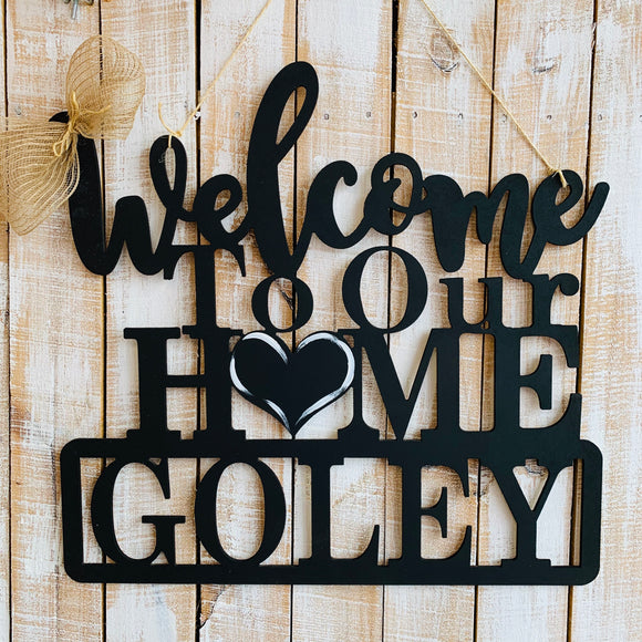 Welcome to Our Home with your choice of last name or house number Cutout Wooden Door Hanger Unfinished Craft Shape