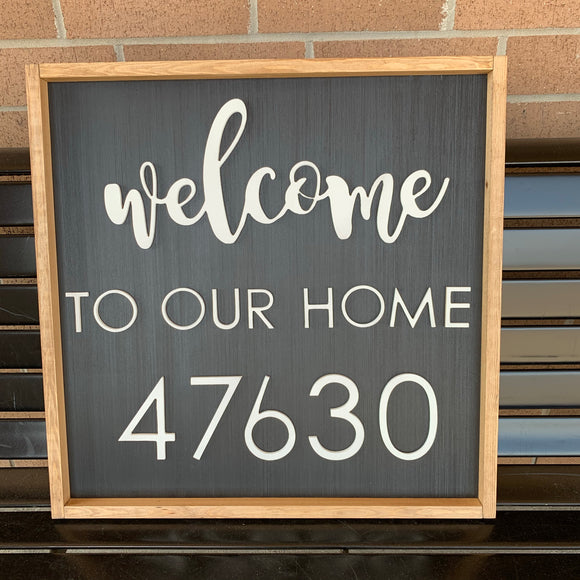 Welcome To Our House Address Sign, House Number, Wood cut-out Numbers Word, Porch Sign, Wall Art Sign, Home Decor, Porch Decoration