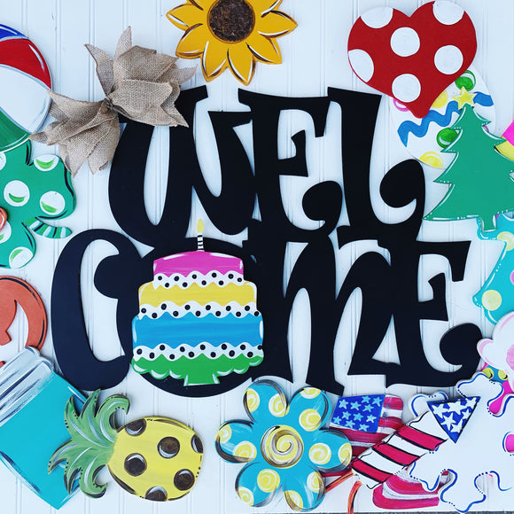 Welcome Interchangable Sign, Farmhouse Style, 4  Velcro Attachment, Ready to Hang