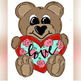 Teddy Bear with Heart, Customizable, Valentine Decor Wood Door Hanger