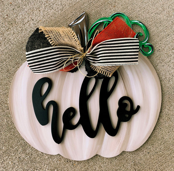Fall Pumpkin with Word or Name Overlay Door Hanger, Thanksgiving Customizable Door Hanger