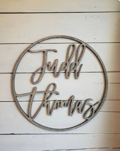 Circle With Name Sign, Nursery Decor, Home Decor Wedding Gift
