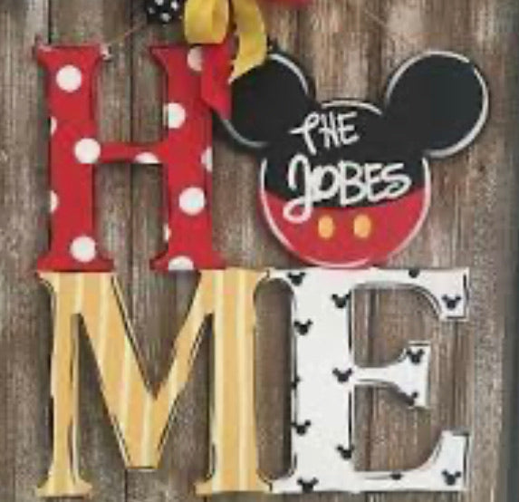 Mickey Mouse HOME (or can say READ, LOVE)  wood Door Hanger Painted or Unfinished Craft Shape