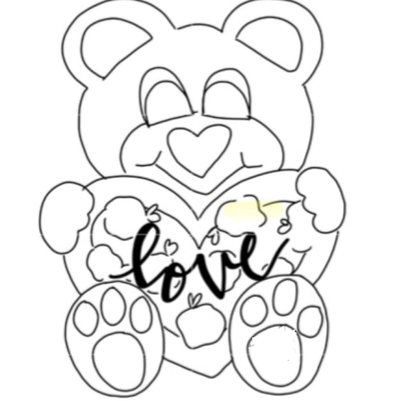 Teddy Bear with heart , Door Hanger Unfinished Craft Shape