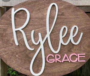 "22"" Simple Name Nursery Round, Painted Baby Room Decor"