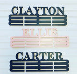 "Personalized Medal Hanger Holder, 3 Rack, 20"" Wood, Text, Color, Sports Home Decor, Customizable"
