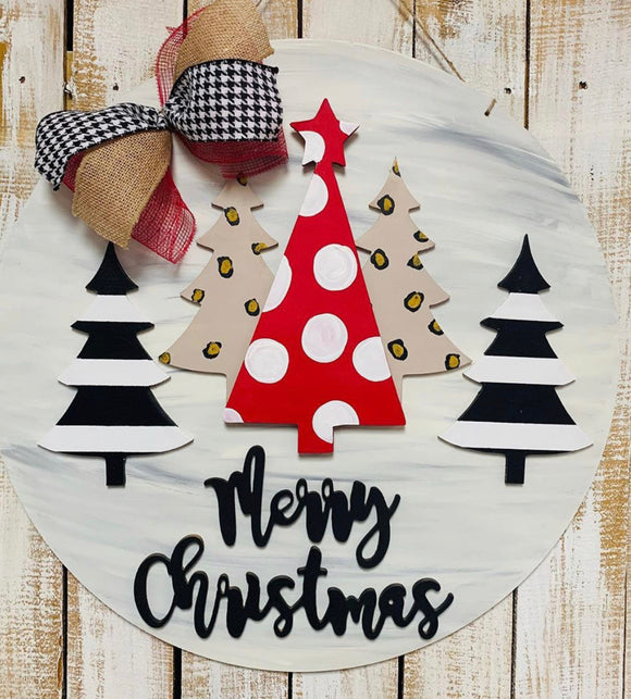 Christmas Trees with Merry Christmas on Circle Backing,  Door Hanger Christmas Decoration