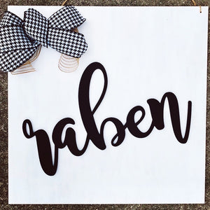 Square Family Name Sign, Home Decor Wedding Gift