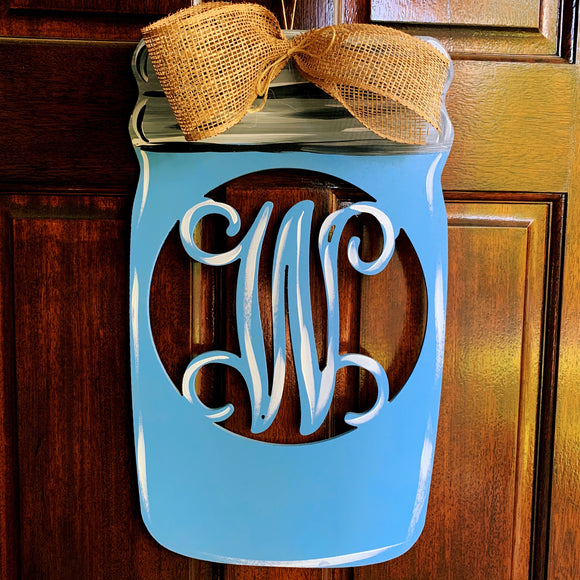 Mason Jar Monogram Painted or Unfinished , Wood Customizable Door Hanger  Home Decor