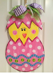 Easter Egg with Chick wooden door hanger