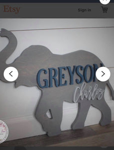 Elephant Nursery Round, Painted Baby Room Decor