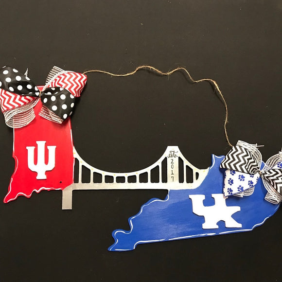 Bridge from Indiana Hoosiers to Kentucky Wildcats Customizable Door Hanger