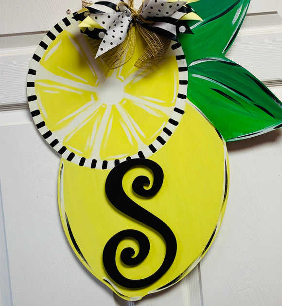 Lemon with Monogram Letter,  Summer Decor, Craft Shapes, Wooden Cutouts